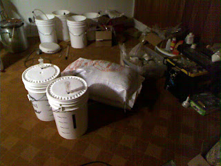 The two fermentors getting some cold conditioning in my basement.