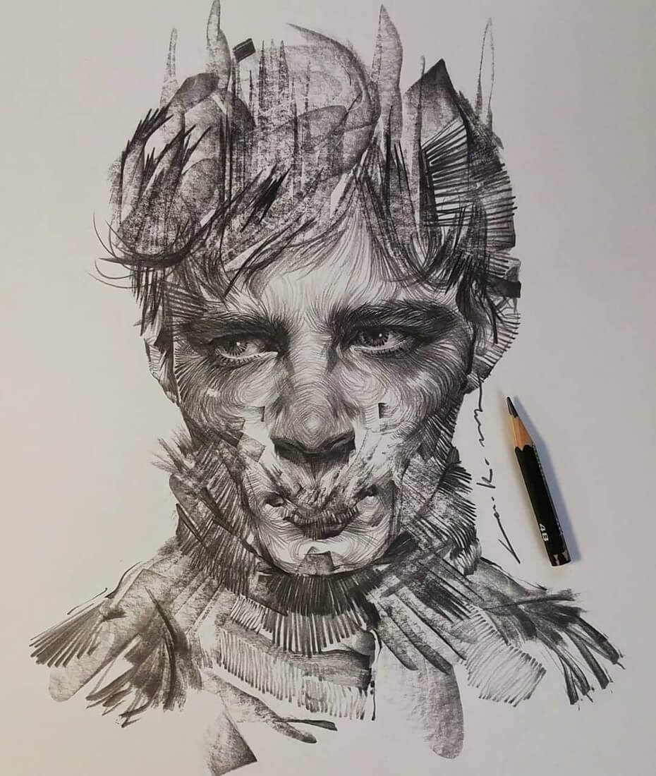13-Lee-K-Lines-and-Swirls-Pencil-and-Charcoal-Portraits-www-designstack-co