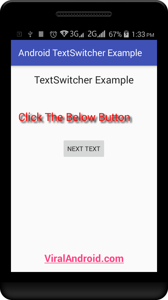 TextSwitcher Example: How to Make Animated TextView Content using TextSwither