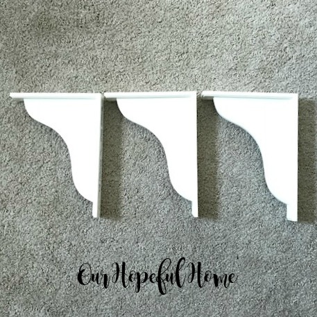 white wood corbel DIY farmhouse shelf