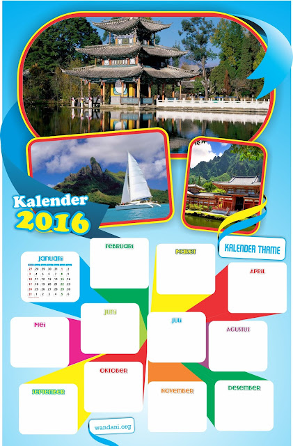 Free Vector : Download Desain Tamplate  Kalender 2016 (CDR)