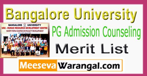 Bangalore University PG Admission Counseling Merit List 2018