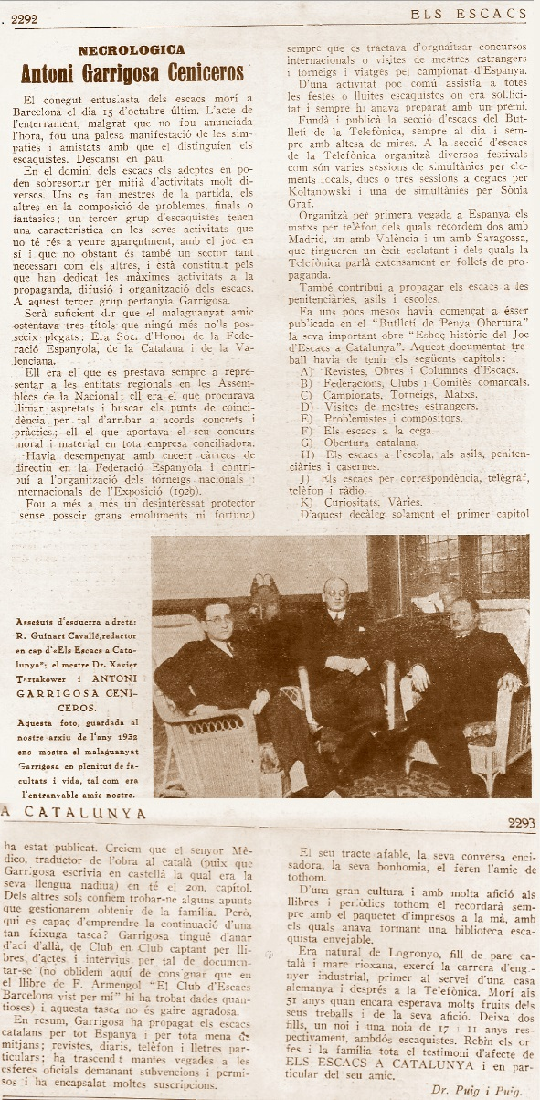 Necrológica, Antonio Garrigosa Ceniceros