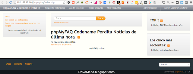 DriveMeca instalando phpMyFAQ en un servidor Linux Centos