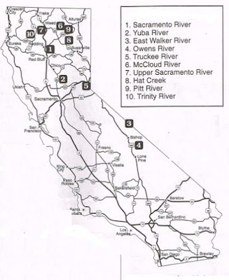 MAP TO BEST TROUT FISHING FOR YUBA, OWENS, TRINITY, MCCLOUD RIVER