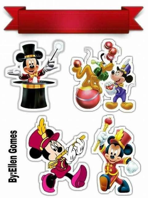 Mickey en el Circo: Toppers para Tartas, Tortas, Pasteles, Bizcochos o Cakes para Imprimir Gratis.