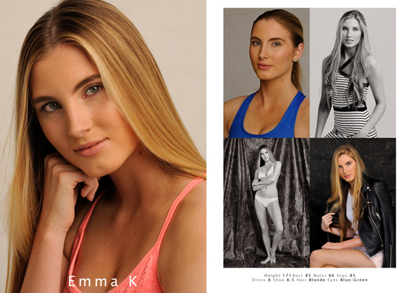 Model comp card from a studio modelling portfolio, Fitness & Fashion by Kent Johnson, Sydney, Australia.