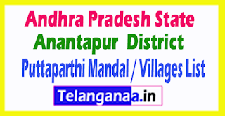 Puttaparthi Mandal Villages Codes Anantapur District Andhra Pradesh State India
