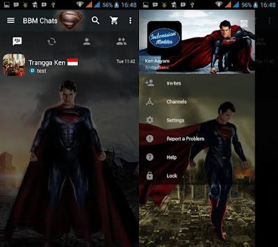 BBM Man of Steel v3.0.1.25 APK ( BBM MOD Superman)