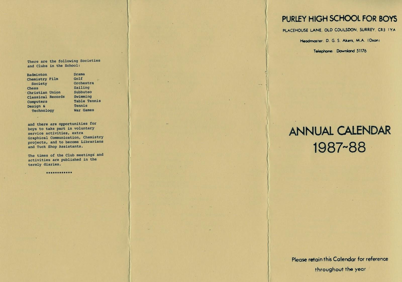 Fas Et Patria School Calendar 1987