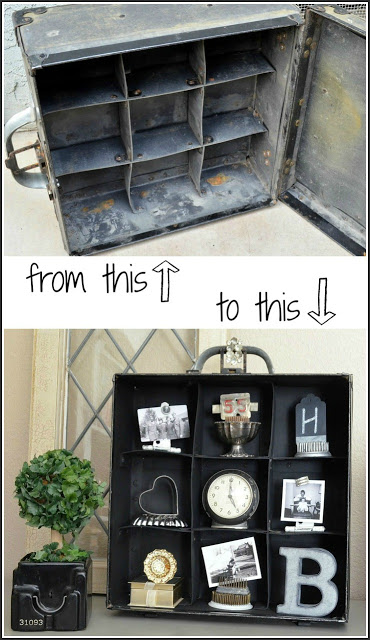 turn a vintage carrying case into display shelves