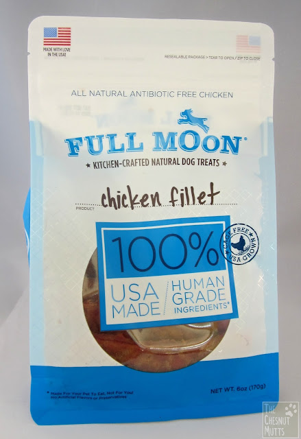 a bag of Full Moon Chicken Fillets, kitchen-crafted natural dog treats