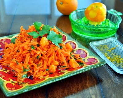 Golden Carrots, a simple carrot salad, just grated carrots tossed with orange, cilantro and Moroccan spices. Vegan. Gluten-Free. For Weight Watchers, #PP2.