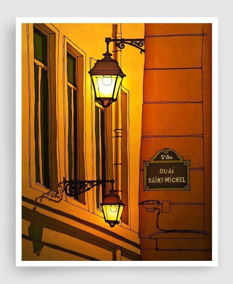 03-Quai-Saint-Michel-Yellow-Version-Brigitta-Paris-Illustrations-Colorful-Architecture-www-designstack-co