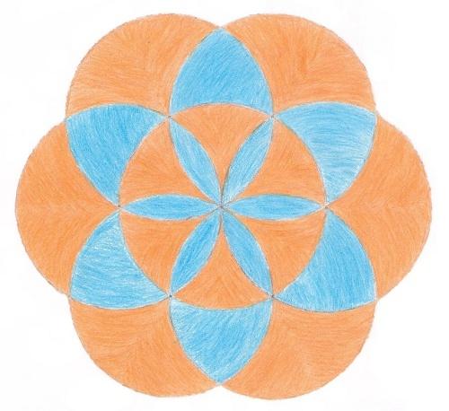 Geometric Art Project: Seven-circle Flower Design
