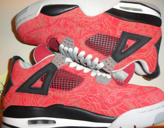 e51ab7afc31c16 Here is a detailed look at a rare pair of Air Jordan IV Laser Varsity Red  Sample Sneaker