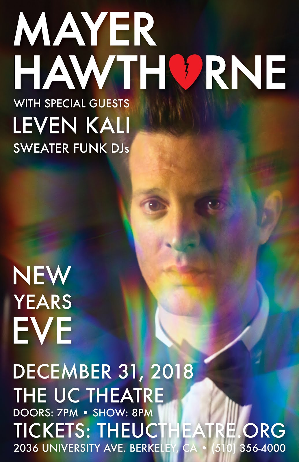 12/31 : Mayer Hawthorne, Leven Kali, Sweater Funk @ The UC Theatre Taube Family Music Hall