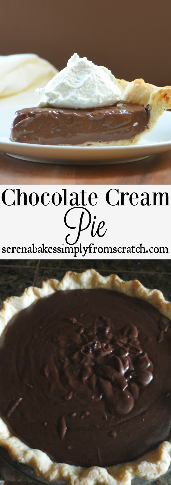 Chocolate Cream Pie with a dairy free option. Perfect for your Thanksgiving or Christmas party! serenabakessimplyfromscratch.com