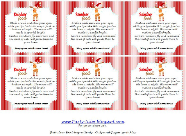 image about Free Printable Food Labels for Party referred to as Celebration-Stories: ~ No cost Printables ~ Reindeer Magic Foodstuff Labels