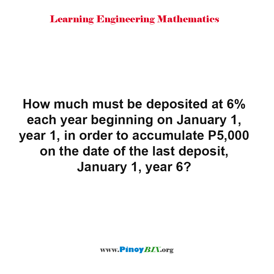 How much must be deposited at 6% each year beginning on January 1, year 1?
