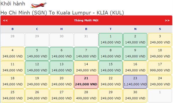 Vé máy bay đi Kuala Lumpur tháng 11 hãng Vietjet Air giá chỉ từ 149K