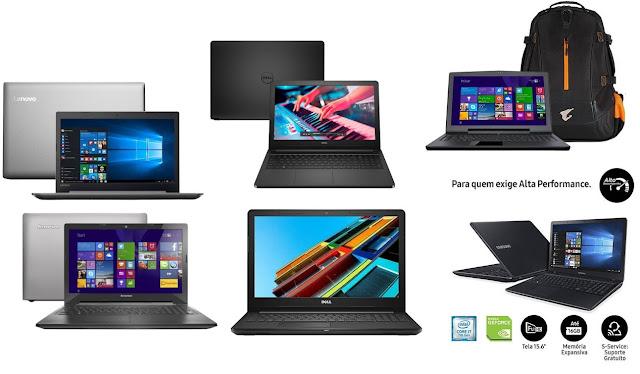Modelos de Notebooks de diversas marcas