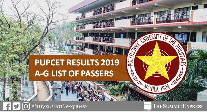 A-G Passers: PUPCET Results AY 2019-2020