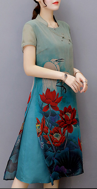 Vintage Women Printed Short  Chinese Style Silk Dresses