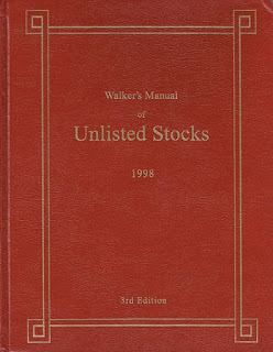 Walker's Manual of Unlisted Stocks, book cover of the third 1998 edition
