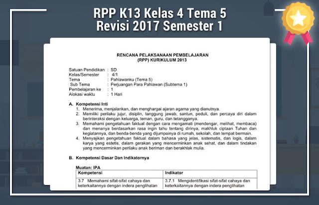RPP K13 Kelas 4 Tema 5 Revisi 2017 Semester 1