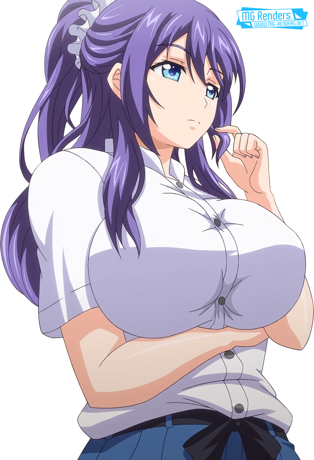 Tags: Anime, Render,  Huge Breasts,  Mankitsu Happening,  Skirt,  Suzukawa Rei, PNG, Image, Picture