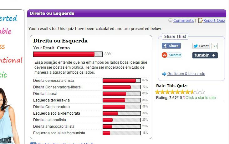 Resultados do questionário do GoToQuiz
