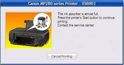 Canon MP287 The Ink Absorber is Almost Full