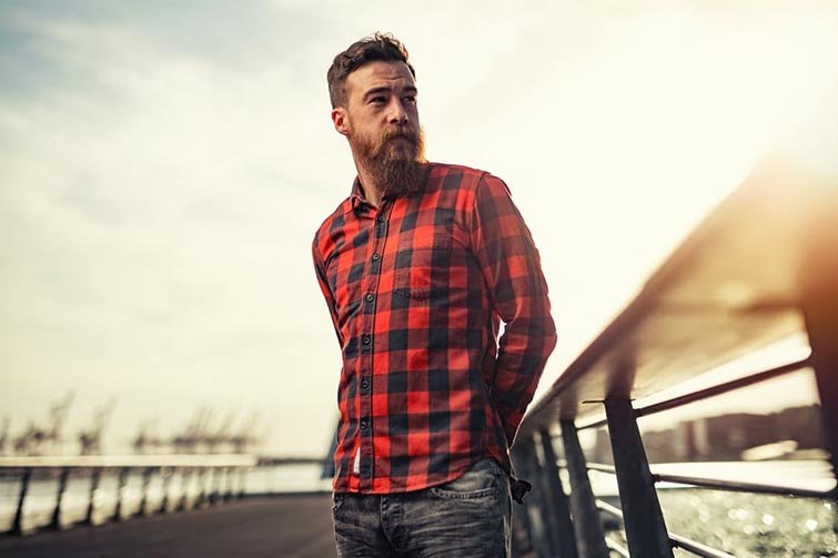 Man Wearing Black and Red Checkered Long Sleeve Shirt
