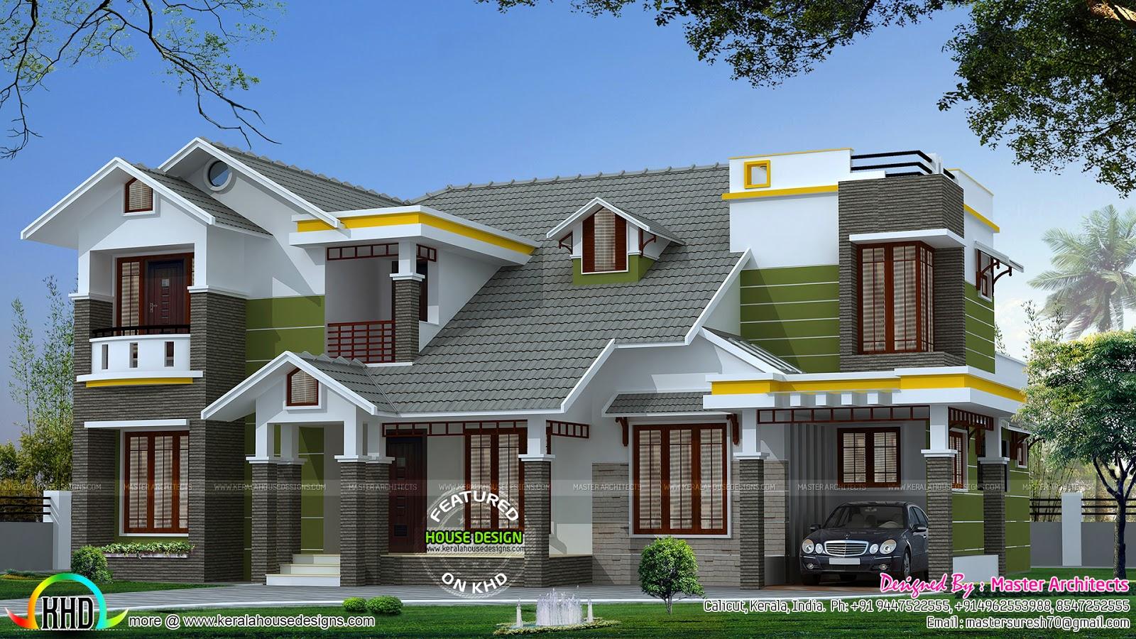 2780 Sq Ft 4 Bedroom Modern Sloping Roof House Kerala