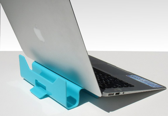 The laptop lift 90 organizer is a combination riser and space-saver when used as a stand for storage and to maximize desk space