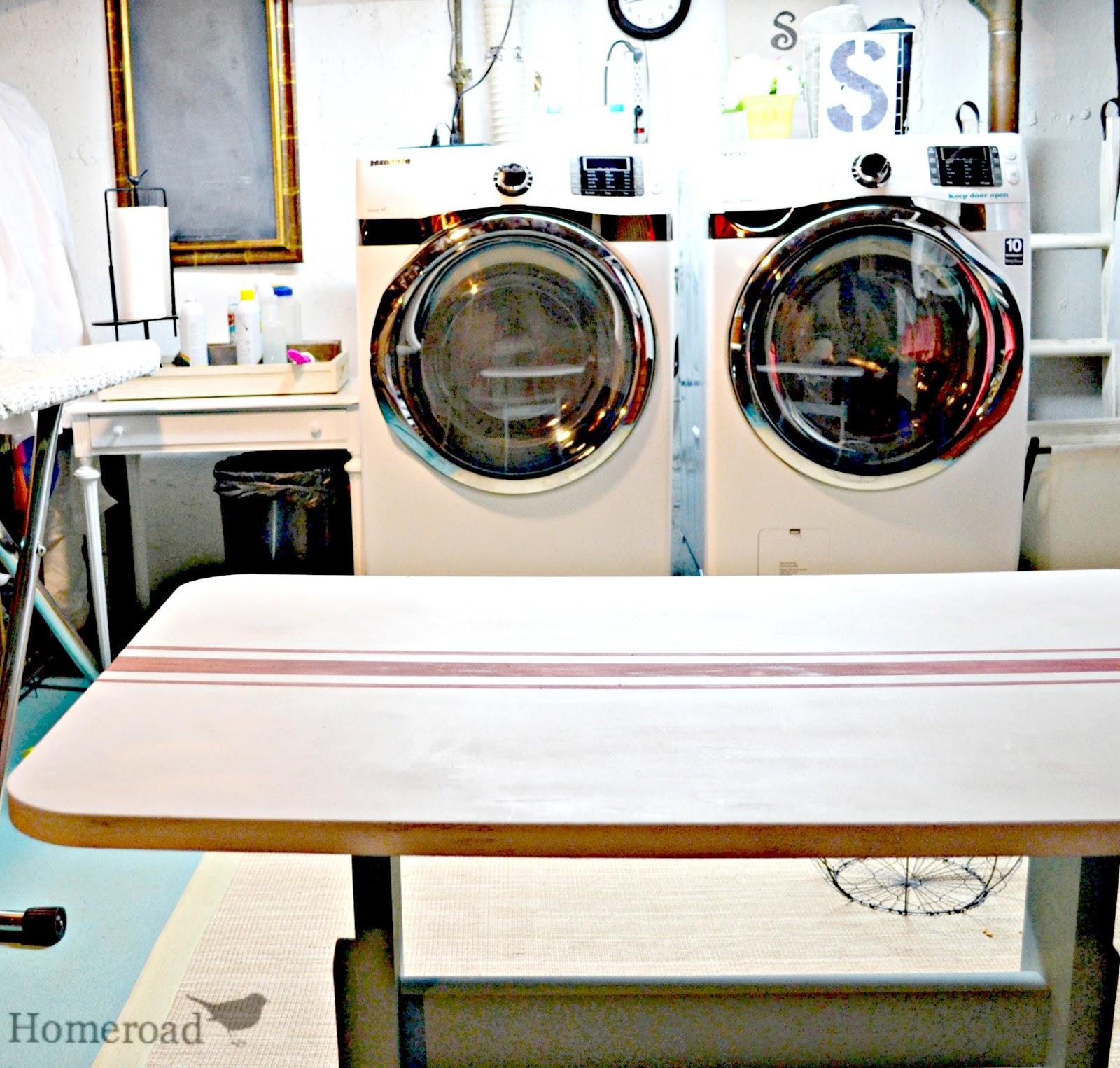 Grain Sack Striped Laundry Folding Table Homeroad