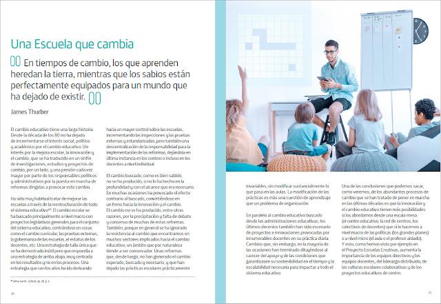 Páginas interiores del libro Escuelas Creativas, una escuela que cambia
