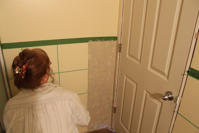 Sponge paint on walls for faux painting tiles