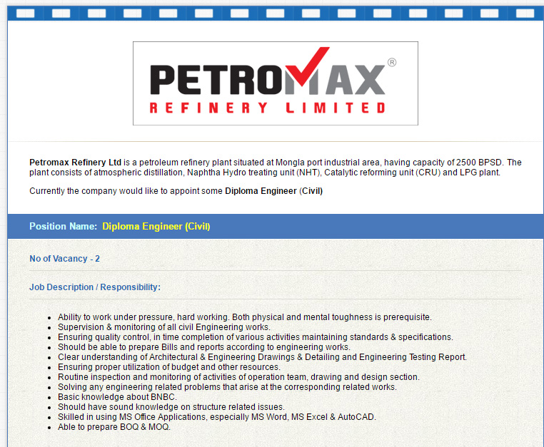 Petromax Refinery Ltd  - Position: Diploma Engineer (Civil) - Job