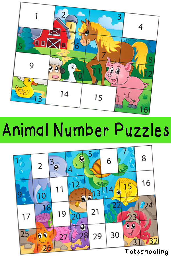 Free printable animal puzzles for preschool and kindergarten kids to practice number recognition. Features farm animals, ocean animals and jungle animals and comes in two levels of difficulty.