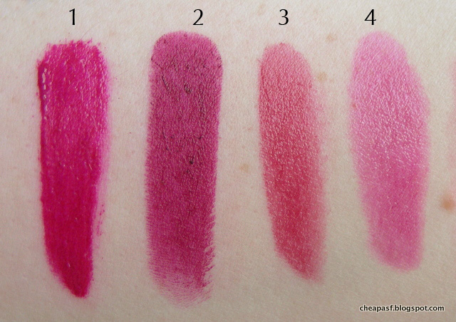 Swatches of 1. Urban Decay Vice Lipstick in Firebird; 2. Wet N Wild Sugar Plum Fairy; 3. Tarte Lip Creme in Heartfelt; and 4. Revlon Balm Stain in Smitten.