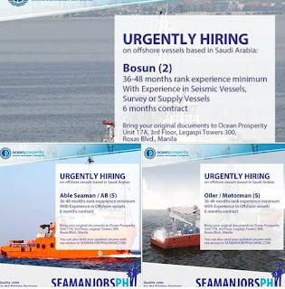 Available supply vessel jobs in Dubai joining October-November-December 2018