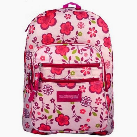 Trail Maker Pink / Purple Spring Flowers Pattern School Bag