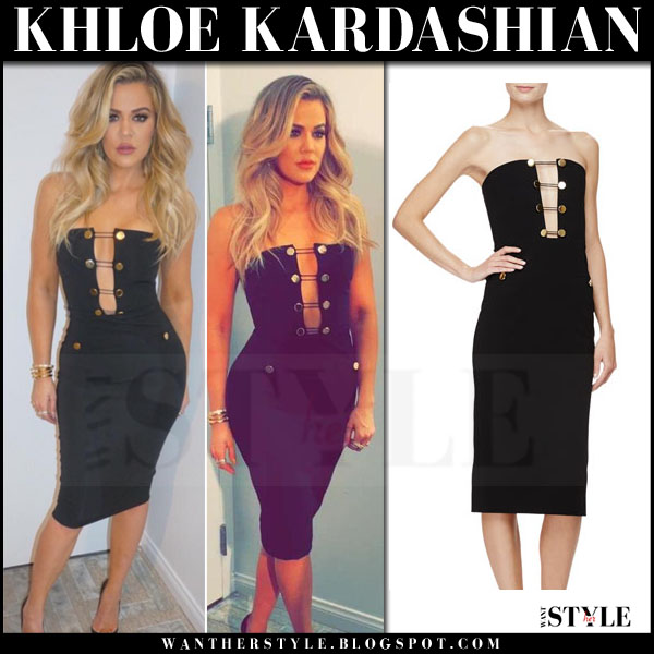 Khloe Kardashian in black strapless gold button midi dress cushnie et ochs what she wore