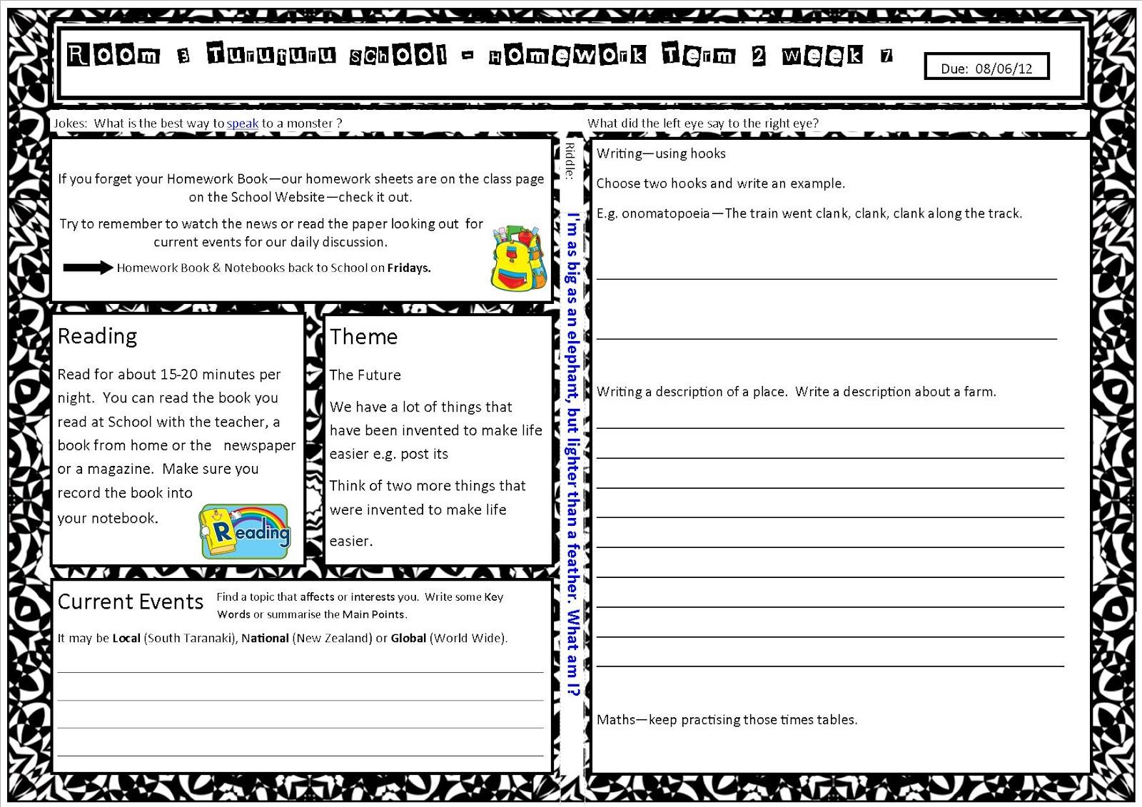 Turuturu School Room 3 Homework
