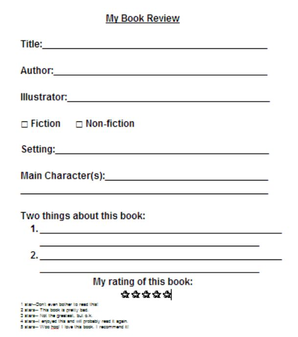 middle school book report