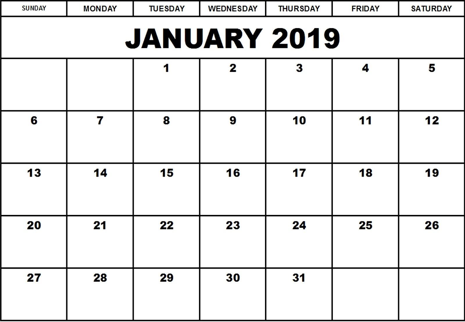 January 2019 Editable Calendar Free Download