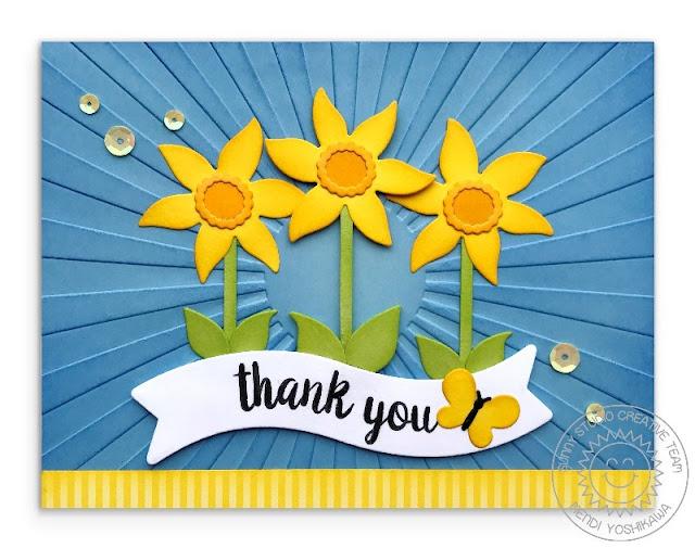Sunny Studio Stamps: Daffodil Thank You Card (using Botanical Backdrop die, Sunburst Embossing Folder, Dots & Stripes Pastels Paper, Autumn Splendor Stamps & Little Angel dies)