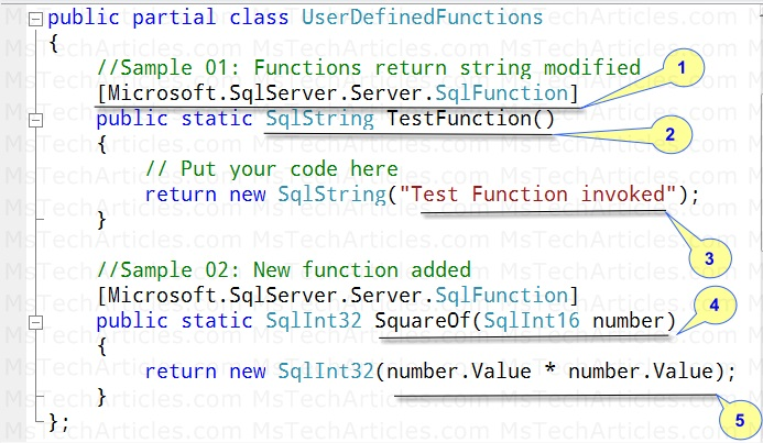 C# SQL CLR Function Example - Refer Code Listing 1